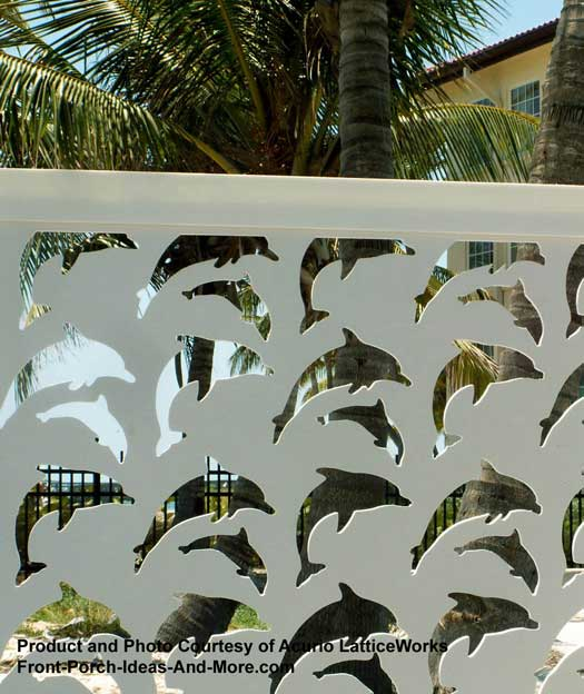 lattice fence with birds and trees
