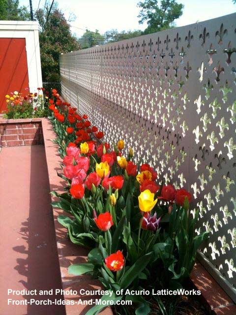 lattice fence sections between brick columns