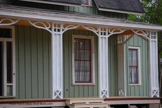 lattice style columns on porch