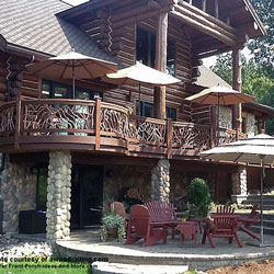 round laurel wood railings on front porch