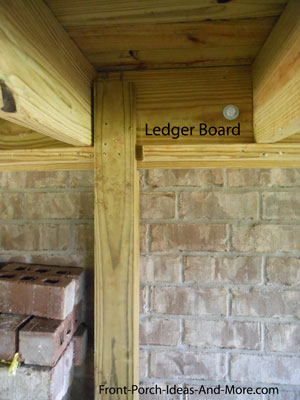 ledger board supported by post