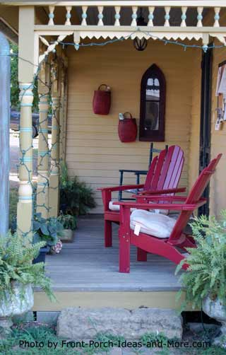 red adirondack chairs on front porch