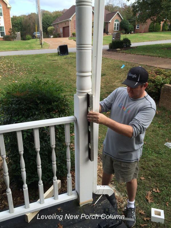 leveling new front porch column