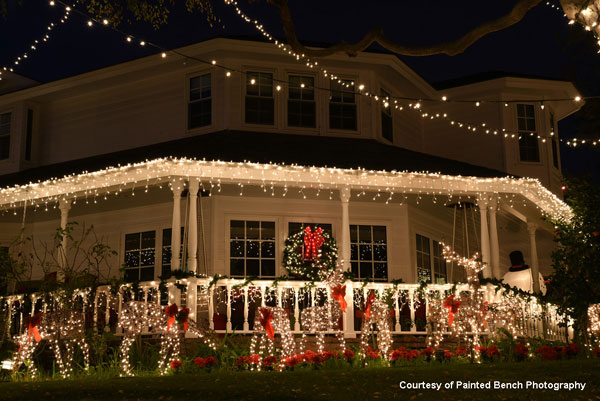 Christmas light display on wrap around porch in Torrance CA by Painted Bench Photography