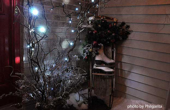 branches with a string of lights on front porch