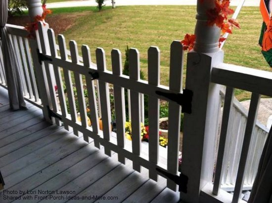 Close-up of Lori's porch gate
