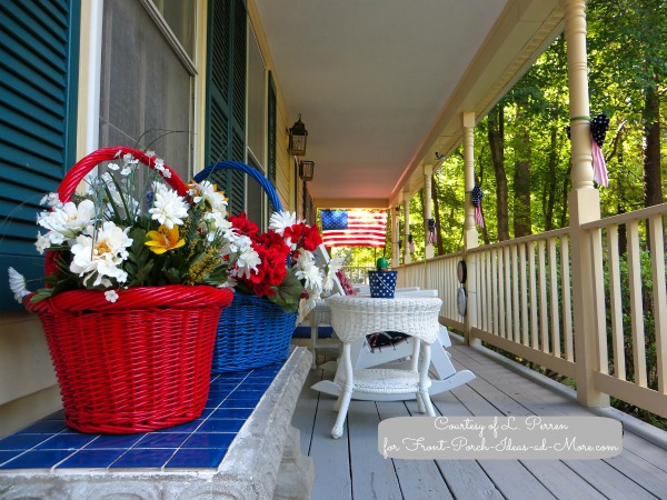 Lily's beautifully decorated patriotic porch