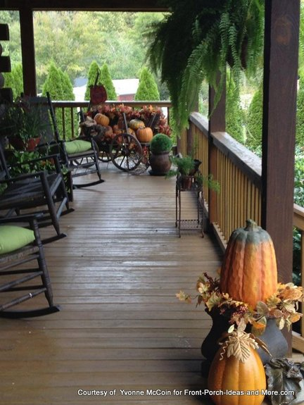 Yvonnes log cabin porch in the autumn