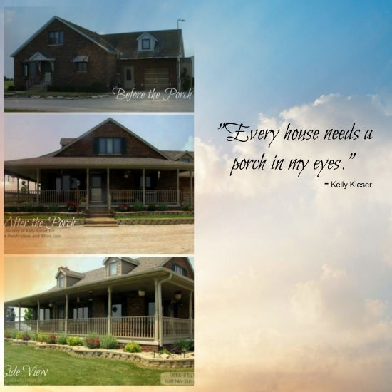 Kelly's home before and after the porch