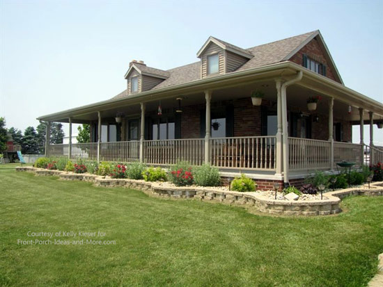 Kelly's home with her new porch and here you can see the landscaping too