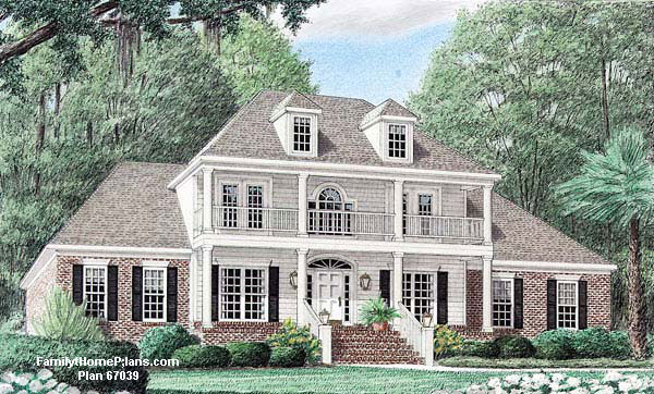 Front porch on luxury home from Family Home Plans #67039