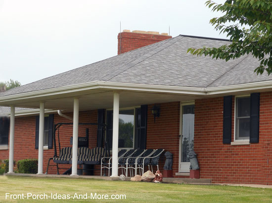 Mansard Roof On Porch Of A Ranch Style Home