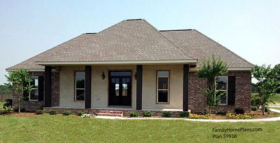 mansard roof style on floor plan 59936 by Family Home Plans