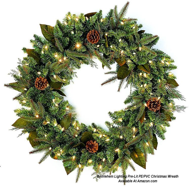 Bethlehem Lighting Pre-Lit PE/PVC Christmas Wreath from Amazon.com