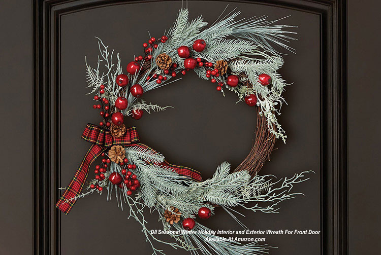 DII Seasonal Winter Holiday Interior and Exterior Wreath For Front Door from Amazon.com