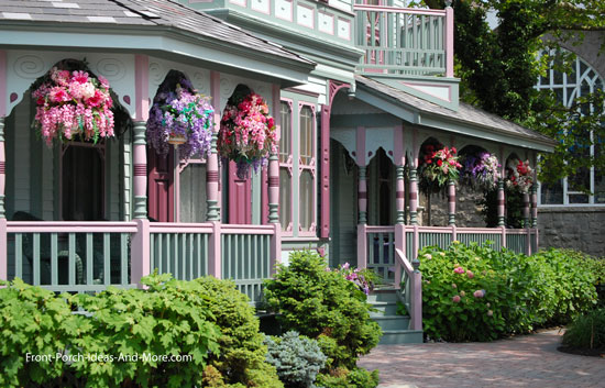 Victorian front porch with hanging baskets