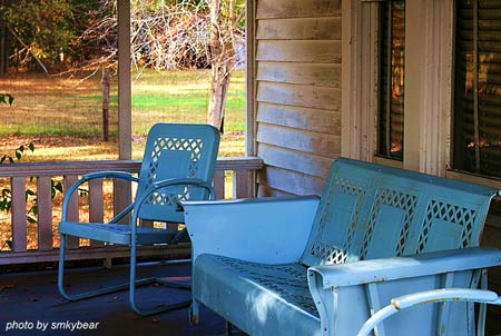 Retro set of metal vintage furniture - single bouncy chair and triple sofa in pretty shade of blue
