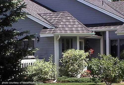 Metal Porch Roof - shingle slate on blue home