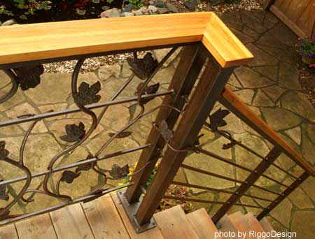 leaf design wrought iron railings by Riggo Design