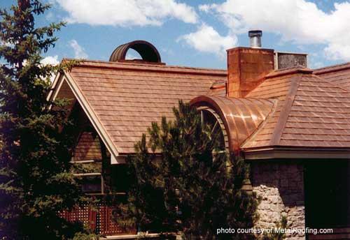 Copper metal roof material