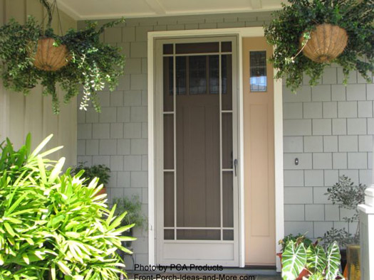 metal screen door with unique architectural features