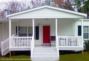 Nice Front Porch Addition With Gable Roof On Mobile Home