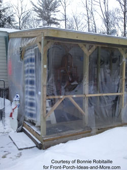 mobile home porch winterizing with blanket
