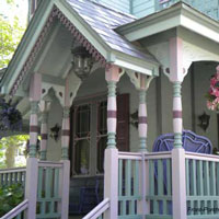 beautifully painted victorian front porch