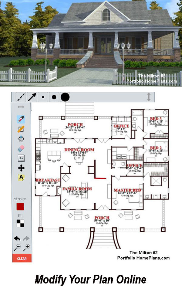 house plan with porch and schematic