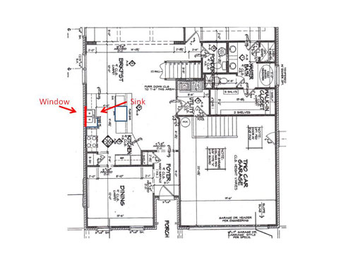 kitchen layout blueprint with new sink location