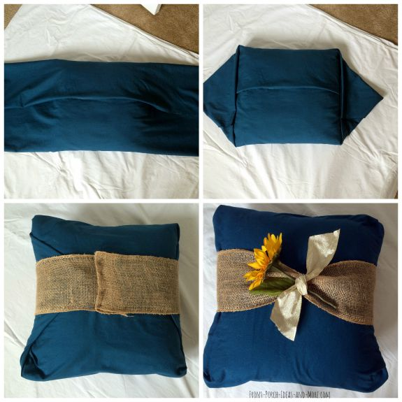 Pictures to show you how to cover a pillow without any sewing involved