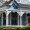 beautiful front porch design in blue