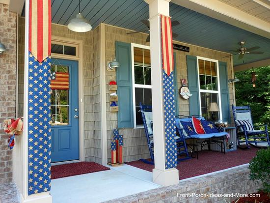 a front porch decorated in americana for the 4th of july