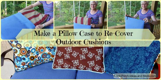 Collage of porch cushion cover pictures
