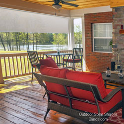 outdoor solar shades on porch with view of lake