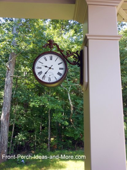 outdoor clock on vinyl porch column