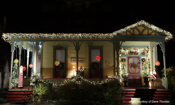 beautifully lit home with Christmas lights