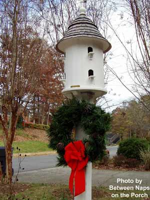 Susan's outside Christmas decorations, a bluebird house decorated with a pretty wreath