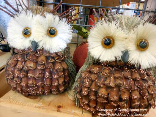 two adorable pine cone owls for autumn