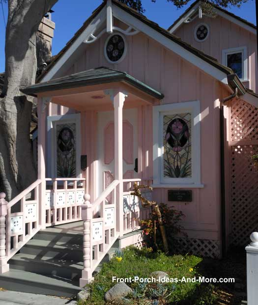 pink porch and house