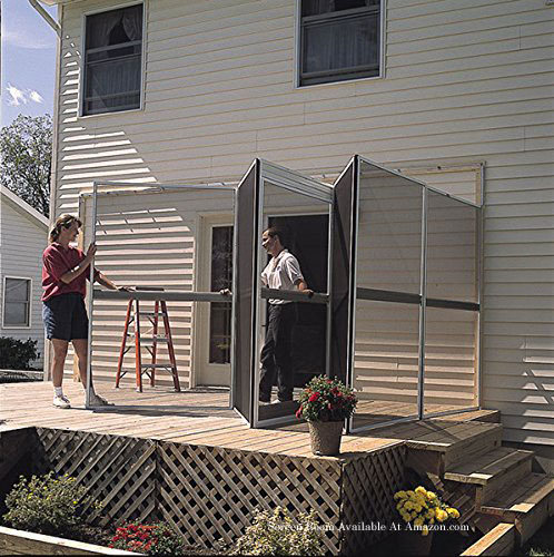 Man and Woman erecting Patio Mate 10-Panel Screen Enclosure
