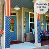 patriotic banners made from burlap on front porch
