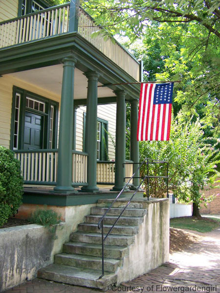 Beautiful American flag on the front porch