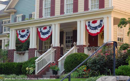 Patriotic buntings on front porch