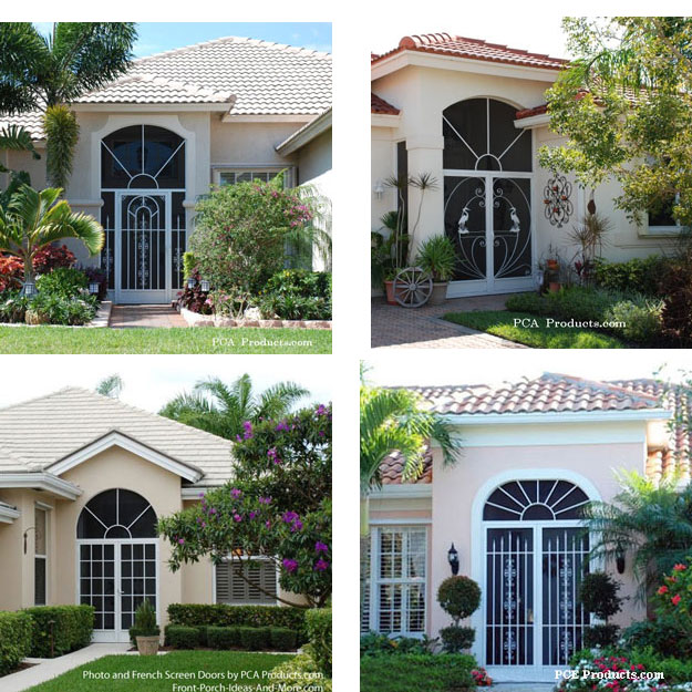 collage of screen porch enclosures for front porch or lanai