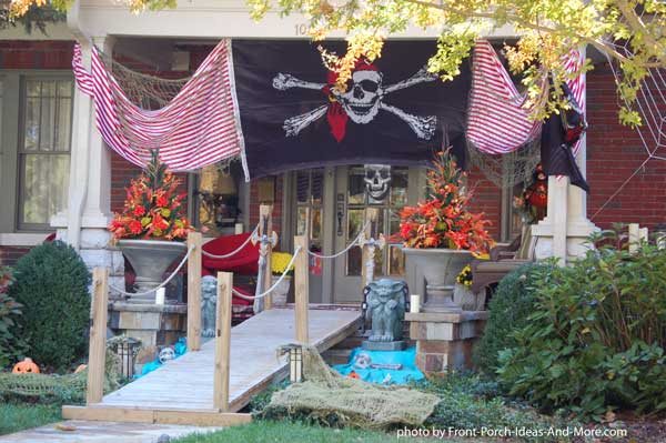 Halloween pirate theme decorations on front porch
