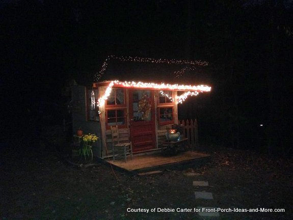 Fia's playhouse is decorated with lights