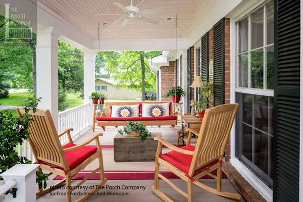 beautifully accessorized front porch