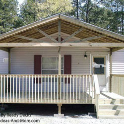 front porch with gable roof addition to mobile home