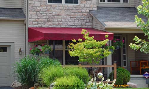 Long red porch awnings